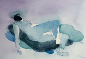 blå modell liggande